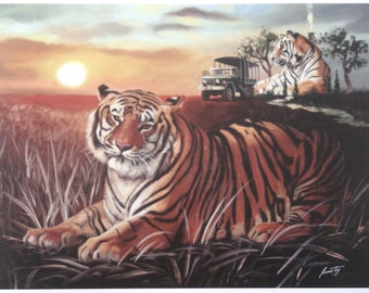 TIGER Cabin illusion print by RUSTY RUST personally signed 11 x 14.5 / T-70-P
