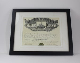 Vintage Embalmers License Mortician Wood Framed Funeral Embalming Oddity Halloween Decor