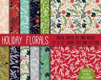 Christmas Holiday Floral Digital Paper Scrapbook Paper, Christmas Floral Background Pattern - Commercial and Personal Use