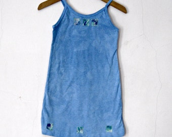 2T Blue Spaghetti Strap Dress Cotton Knit One of a Kind