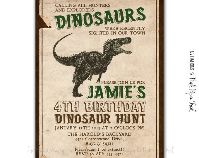 Dinosaur Party Invitation, Birthday, Baby Shower, I will customize for you, Print your own