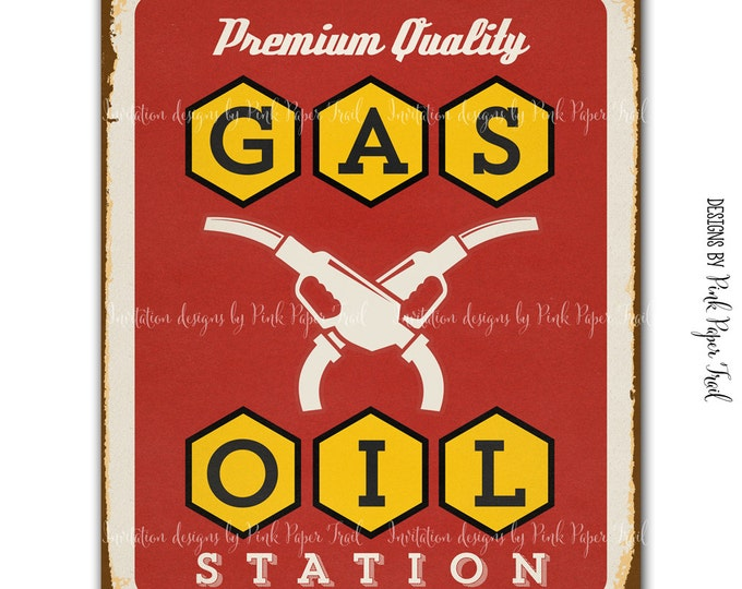 Vintage Garage Sign, Car Shop, Party Poster and Decoration, Digital File, Print your own, Instant Download