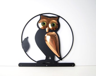 New Never Used Coppercraft Guild Towel Hanger - Mid-Centry Modern Owl Wall Art - Oven Mit Hook