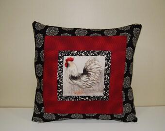 Rooster Pillow, Folk Art Decor, Country Pillow