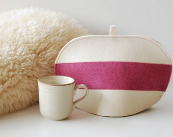 Small 3 Striped Tea Cozy, Pure Wool Felt White and Pink