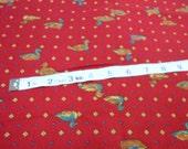 Cotton Fabric, Joan Kessler for Concord Fabrics, 1 yd Quilting Cotton, Duck Print Fabric, Burgundy Print Cotton Fabric
