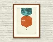 MUSE - London, Wembley Stadium, 18 x 24 Handprinted Silkscreen Art Print, Mid-Century Modern Poster, Rock Concert, Mute Math, hexagon, mod