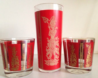 Mid-Century Red Asian Glassware