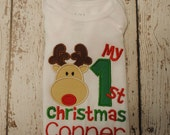 Personalized Embroidered Shirt or Bodysuit with My First Christmas  and reindeer