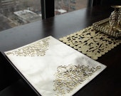 Reversible Leather Placemats, Christmas Decor, Gold laser cut placemats, Gold and Brown, 2 tone gold place mat Christmas Decor,