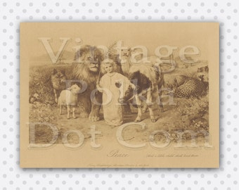 Printable Vintage Art The Lion and Lamb Peace Graphic Sepia Tone Digital Instant Download