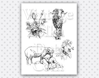 Vintage Clip Art Collage Sheep Lamb Roses Wild Flowers Graphics Clipart Printable Digital Instant Download Scrapbooking