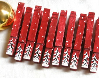 10 PINE TREE CLOTHESPINS magnetic hand painted cranberry