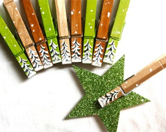 10 CHRISTMAS CLOTHESPINS hand painted magnetic