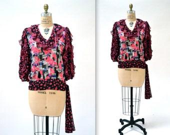 Vintage Boho Shirt Floral Print Shirt in Pink and Black Size Medium Large 80s Vintage By Diane Freis// Vintage Metallic Ruffle Shirt