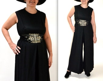 Vintage Black Jump Suit size Large XL with Rhinestones// Black and Silver Metallic Jumpsuit Palazzo Pants Size Large
