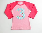 Choose Size and Age Girls Raglan Number Birthday Shirt Blue and Pink Floral Number 1 2 3 4 5 6 7 8