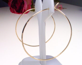 "14k Goldfill Hoops - 2"" - Thin and Simple Gold Hoop Earrings"