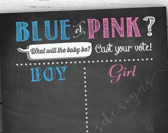 Gender Reveal Games - Gender Reveal Chalkboard Sign - gender reveal board - Cast your vote - Printable - Non-editable