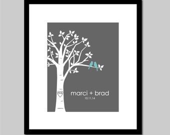 Unique Wedding Gift Personalized Wedding Gift Love Birds in Tree with Carved Initials and Names/Wedding Date, 8x10 Family Tree Print