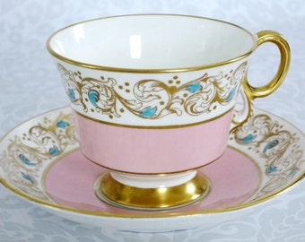Vintage Tea Cup and Saucer Pink and Gold  /  Pastel Pink Teacup and Saucer  /  Valentine Wedding Bridal Gift Cup and Saucer Set