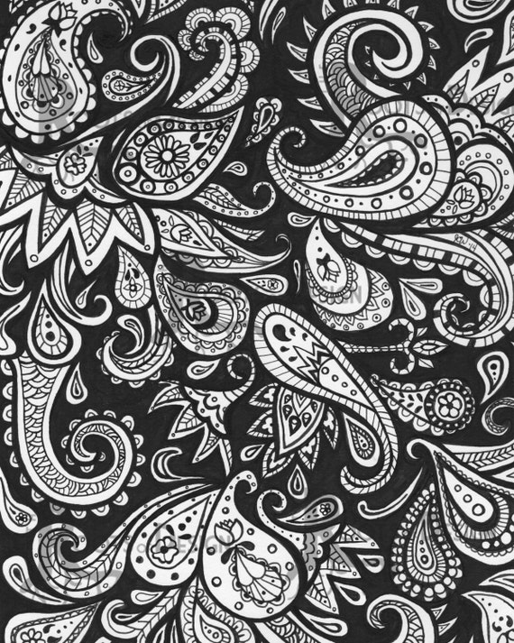 Instant download coloring page paisley art print zentangle for Paisley designs coloring pages
