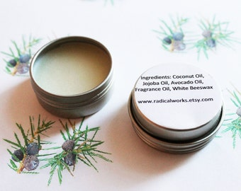 Juniper Solid Perfume - Scented Natural Perfume - Cologne - Perfume Samples - Coconut Oil - Avocado Oil - Beeswax