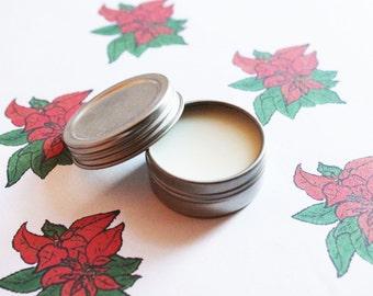 Poinsettia Scented Lip Balm - Natural Shea Butter Lip Balm - Cocoa Butter - Beeswax - Lip Balm Tin - Lip Balm Favors - Matte Lipstick