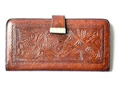 Vintage Leather Wallet - Hand Tooled Made in Mexico - Mexican Vintage