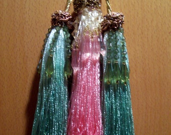 """Tassels Fan Pulls 6"""" Green and Pink Hand-Dyed Rayon Beaded - Set of Three - FREE SHIPPING!"""