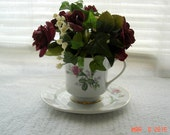 Burgundy Roses and Ivy Tea Cup Floral Arrangement