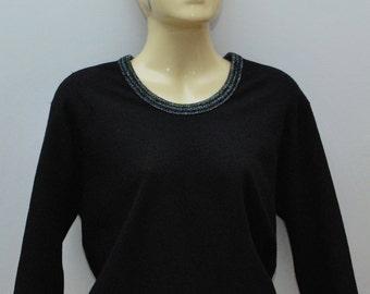 Vintage top * Lurex rainbow Sparkle trim *  knitted sweater jumper L