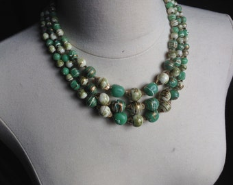 Vintage Green Necklace Multi Strand Necklace