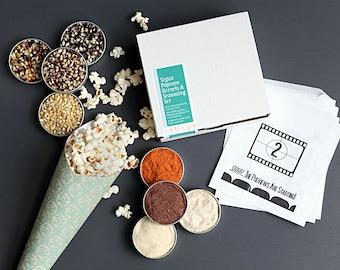 Vegan popcorn kit - popcorn kernels and popcorn seasonings set, Gluten free food gift, vegan gift, movie night treat, unique hostess gift