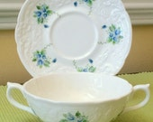 Coalport Cream Soup Bowl| Saucer Set Tintern Blue Roses Fine Bone China Collectable Replacements Made in England