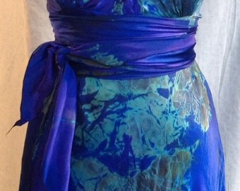 royal blue and acid green tie dye silk V-neck  wedding dress with sash  by momosoho just for your wedding