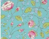 Chinois Rose in Aqua  PWDF199 - CHINOISERIE CHIC by Dena Fishbein - Free Spirit Fabric - 1 Yard