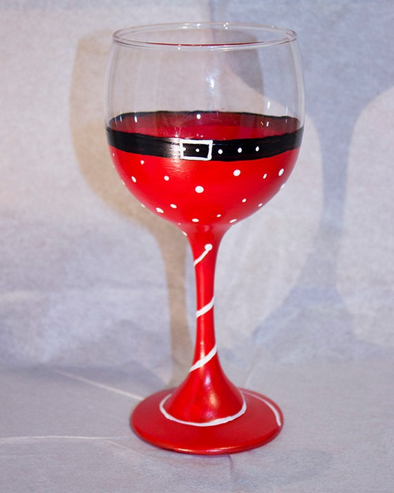 wine glass christmas santa wine glass hand painted santa