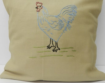 Farmhouse Blue Chicken Hen Pillow Cover 16 Inch.  Chicken Hen Decor. Hand Embroidered. Birds. Rustic pillow. Farm. Chickens. Roosters.