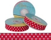 Red and White Polka Dots - Fold Over Elastic - 5 YARDS