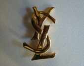 YSL Yves Saint Laurent Interlaced Letters Initals Brooch