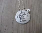 """Wedding/Anniversary Necklace- """"love laughter & happily ever after"""" and an accent bead of your choice"""