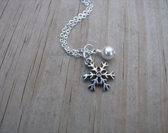 Silver Snowflake Necklace with Pearl Accent Bead- Dainty
