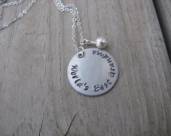 "Grandmother's Necklace- Hand-stamped ""World's Best Grandma"" with a birthstone or accent bead of your choice"