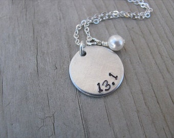 "Half Marathon Necklace- hand-stamped ""13.1"" Necklace with an accent bead in your choice of colors"