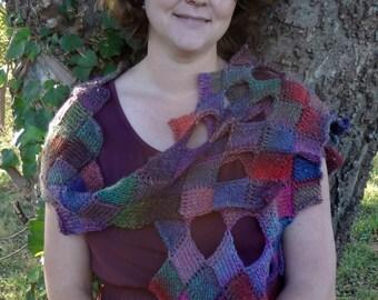 """Crochet Pattern - pdf file - tunisian entrelac crochet wrap - """"On Fire Wrap"""""""