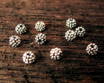 STERLING SILVER Beads - 10 Carpet Granulated Fancy Spacer Beads - 3mm Round Beads - MB236