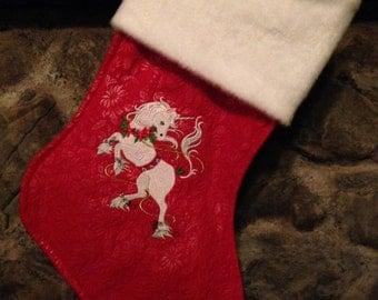 Embroidered Unicorn Christmas Stocking