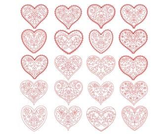 HEARTS REDWORK, Valentine - Machine Embroidery - Instant Digital Download