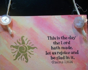 "Original Miniature Painting ""Psalms 118:24"" Watercolor ~ Hanging Ornie"